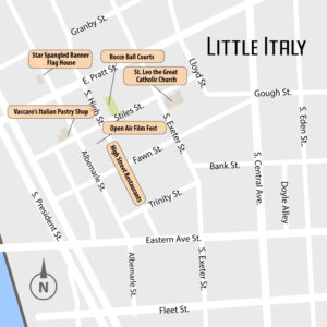 Baltimore's Little Italy Map with Attractions - Baltimore, MD