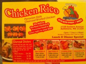 chicken rico menu